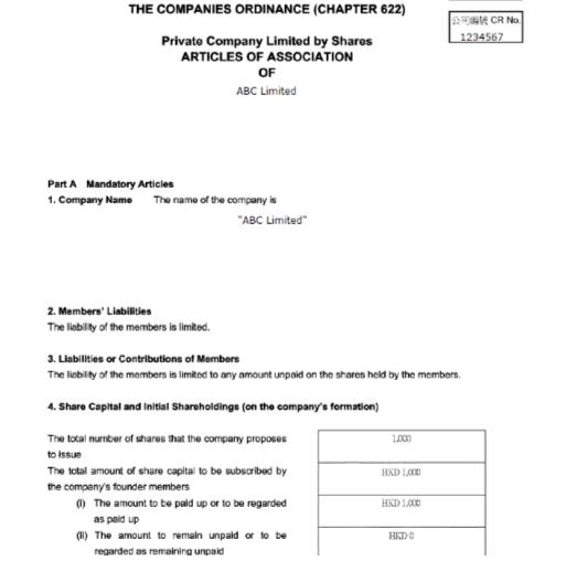 Articles of Association Hong Kong company