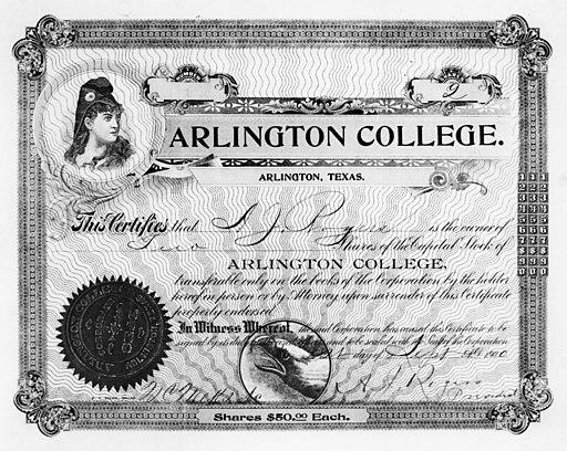 Stock Certificate Arlington College