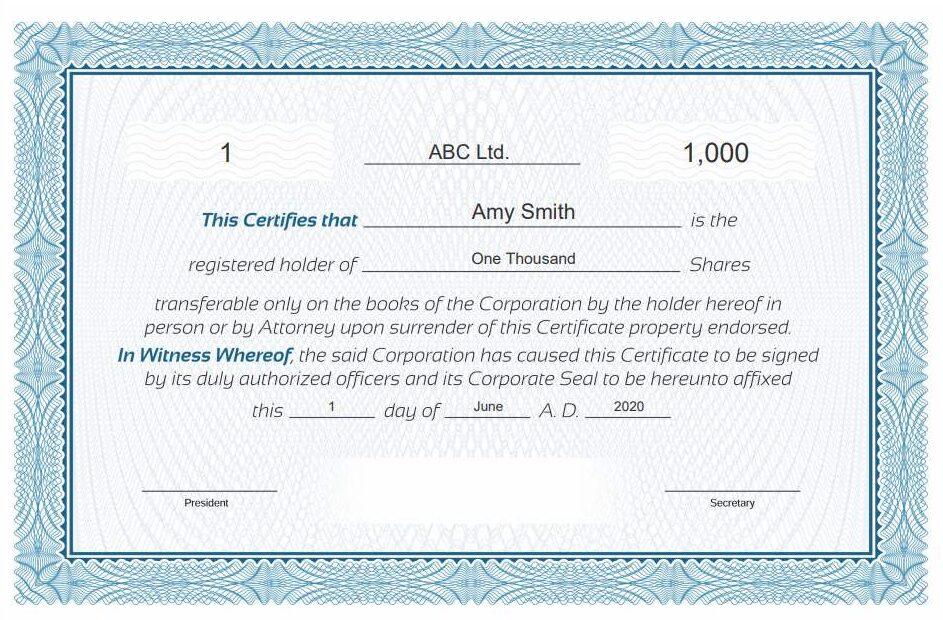 generate free stock certificate