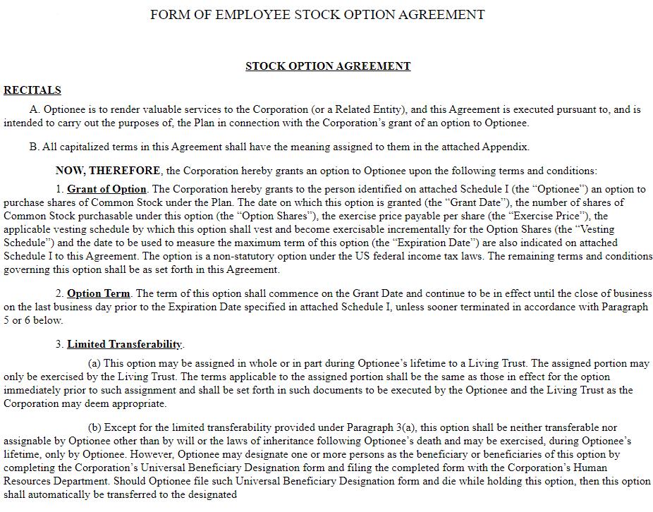 Stock Option Agreement