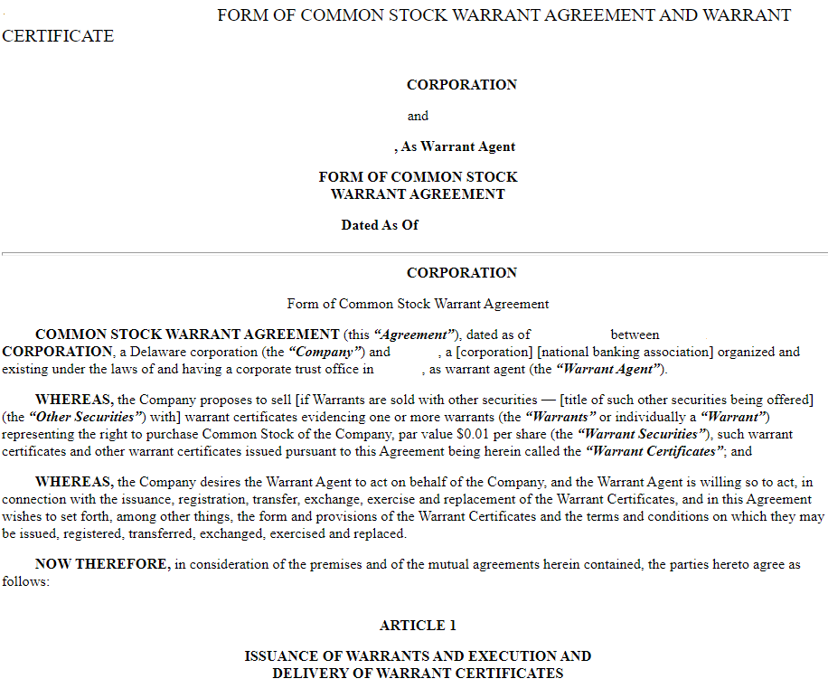 stock warrant agreement