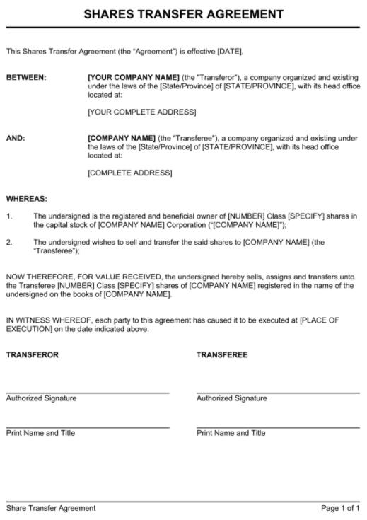 Share Transfer Agreement Sample