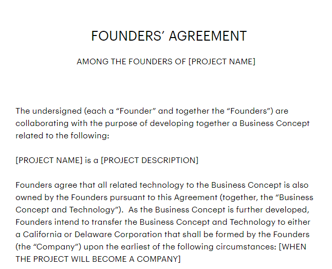 Founders Agreement Sample