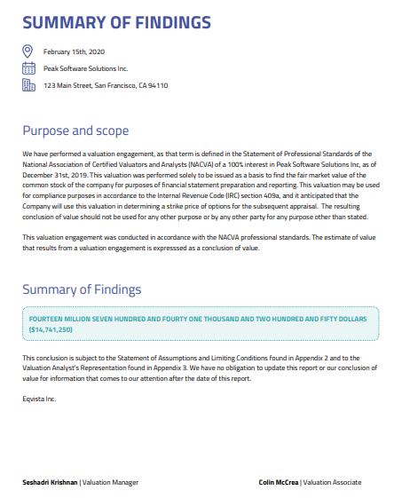 Summary of findings - 409a valuation report
