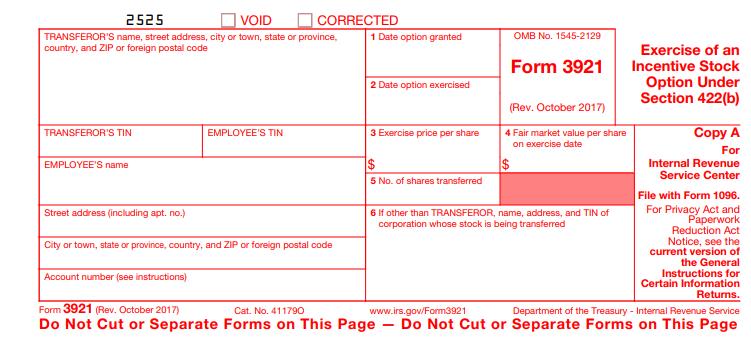 form 3921 copy A