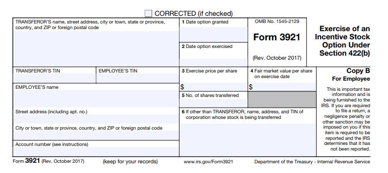 form 3921 copy B