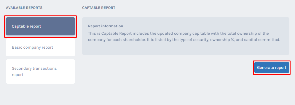 Cap table Report