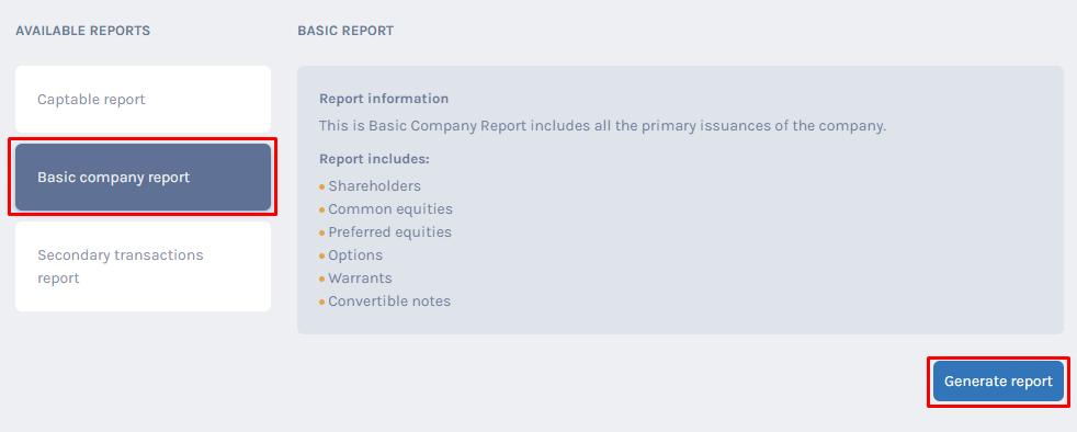 Basic Company Report
