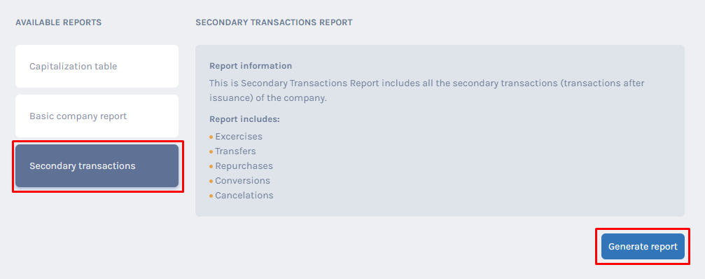 Secondary Transaction Report