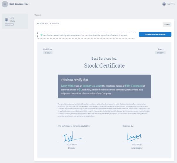 create stock certificate