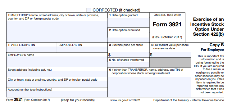 form 3921 for employees