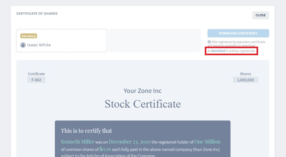 download the certificate without signing it