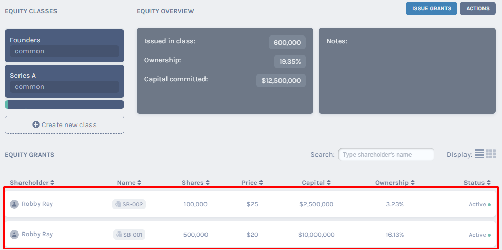 Equity grants overview
