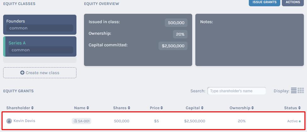 equity class - Series A