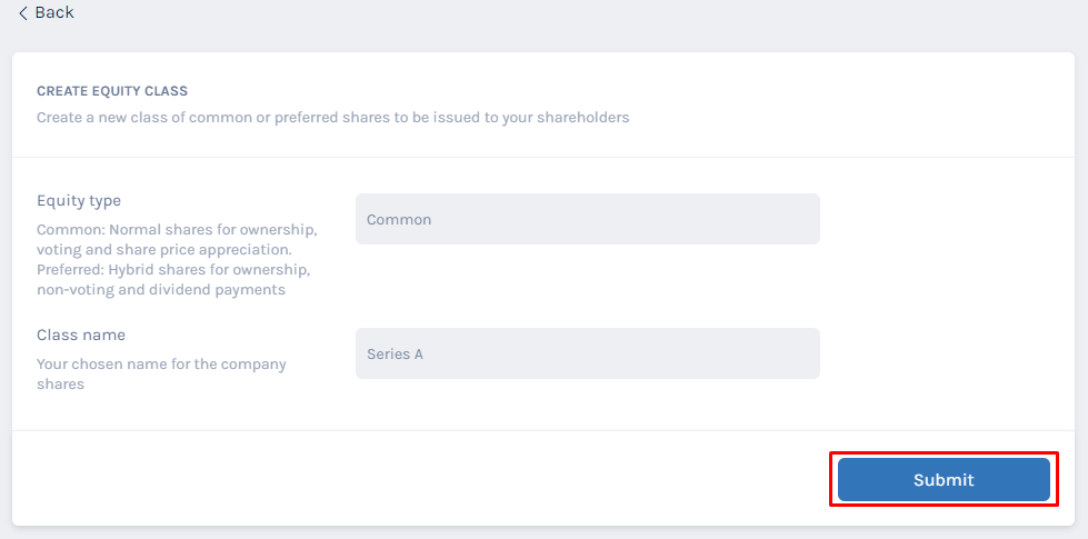 select the kind of shares