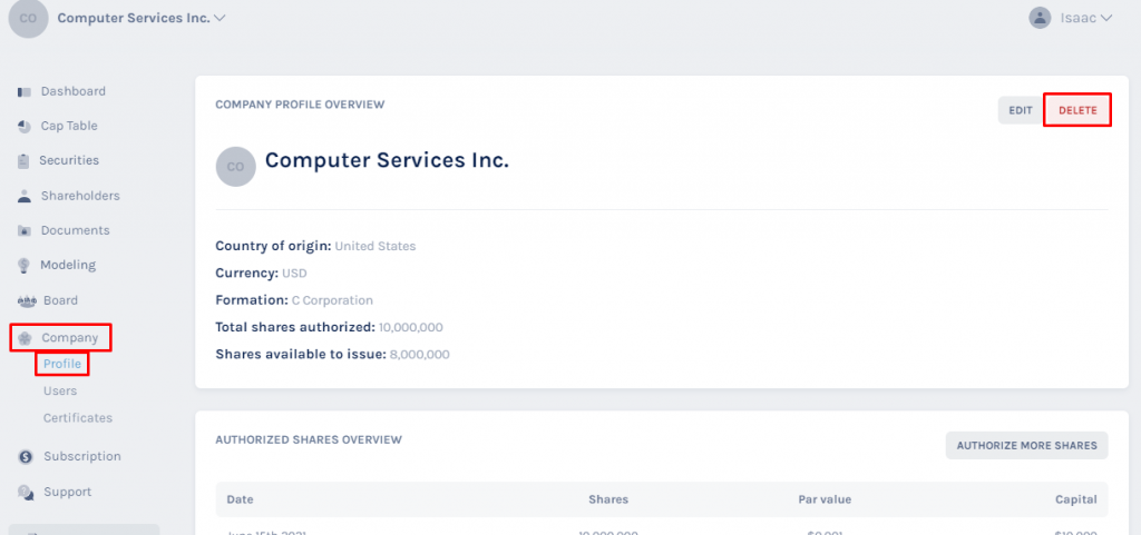 company's main profile overview