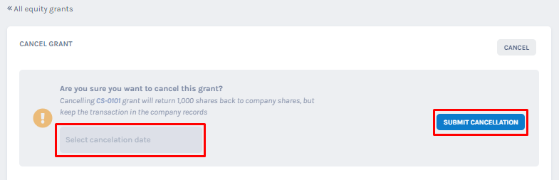 Are you sure you want to cancel this grant?