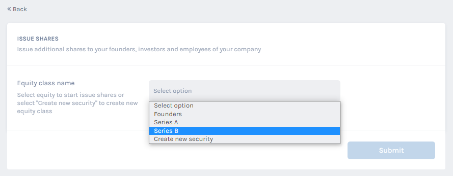 select the equity class name