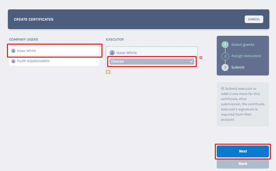 assigning either the admin or the superuser
