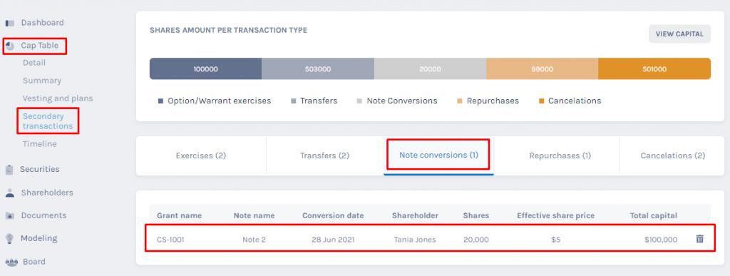 secondary transactions