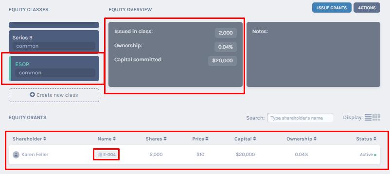 ESOP equity class