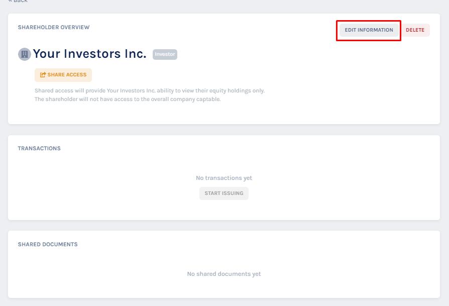 edit the details of the shareholder