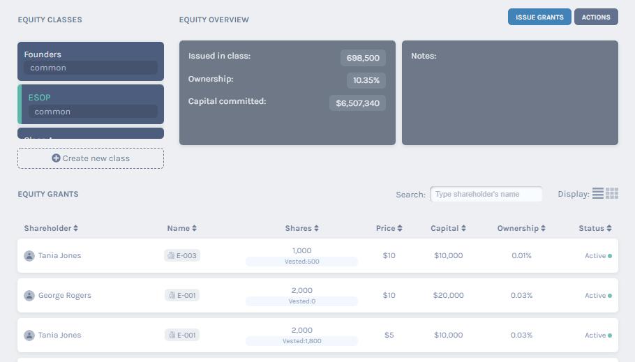 details of ESOP class equity